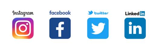 Instagram, Facebook, Twitter, LinkedIn